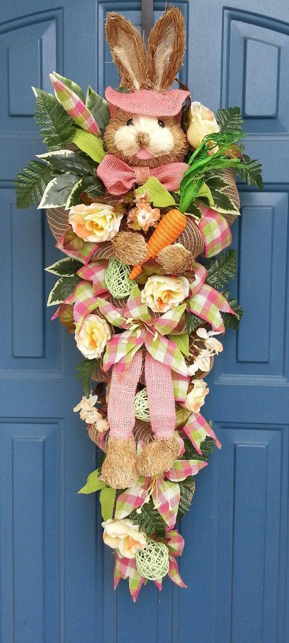 Easter bunny wreath deco mesh swag Vintage