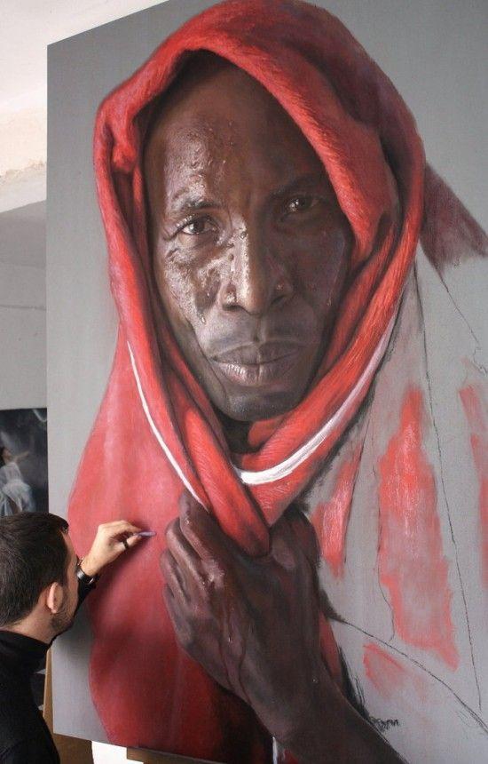 photorealistic pastel portraits by Rubén Belloso Adorna