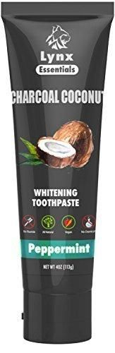 Activated Charcoal Teeth Whitening Toothpaste with Organic Coconut Oil and Active Carbon Powder - Made in USA using Natural Ingredients - Remove Tooth stains & Bad Breath (Peppermint Single Pack)