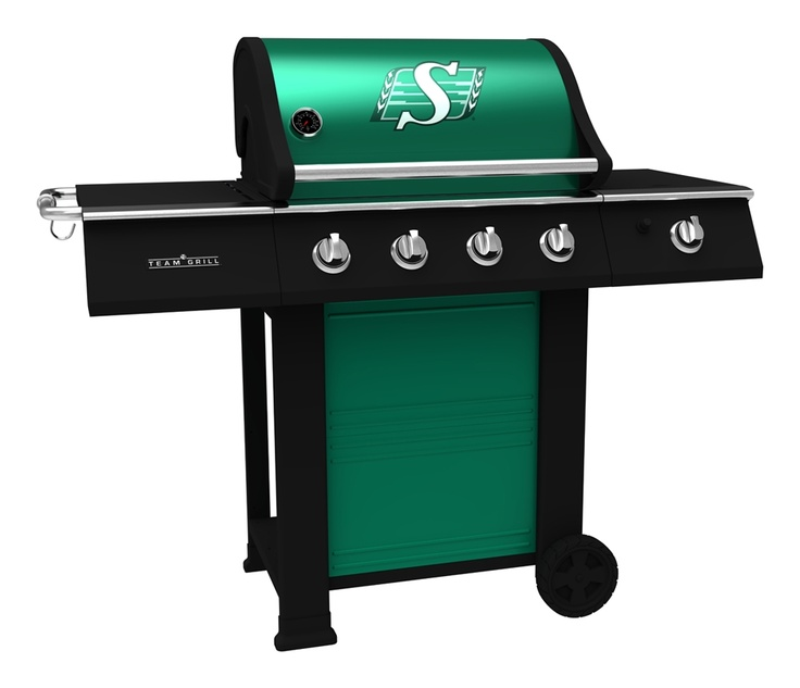 Saskatchewan Roughriders BBQ, sits on the deck at the cabin!