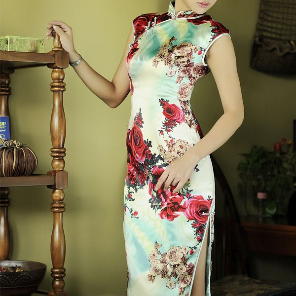 Long Style Deluxe Silk Qipao Gown