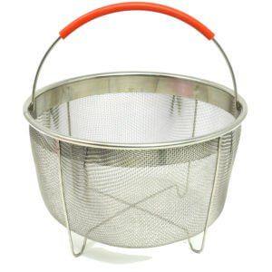 Multitasking steamer basket and strainerExtra sealing ringsA reusable coverA spare potSilicone moldTongsLeak-proof springform panGlass lidHeatproof glovesStackable insert pans