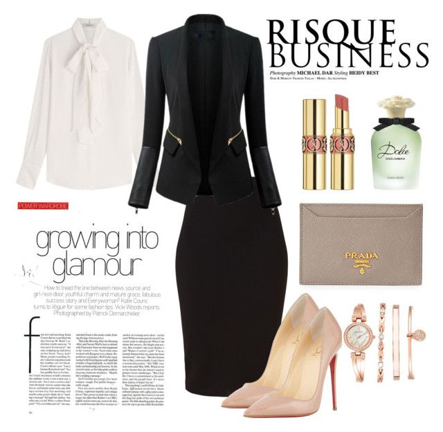 My style | business by neeacamillaa on Polyvore featuring Valentino, Chicsense, Winser London, Christian Louboutin, Anne Klein, Yves Saint Laurent, Dolce&Gabbana, Prada, business and fashionset