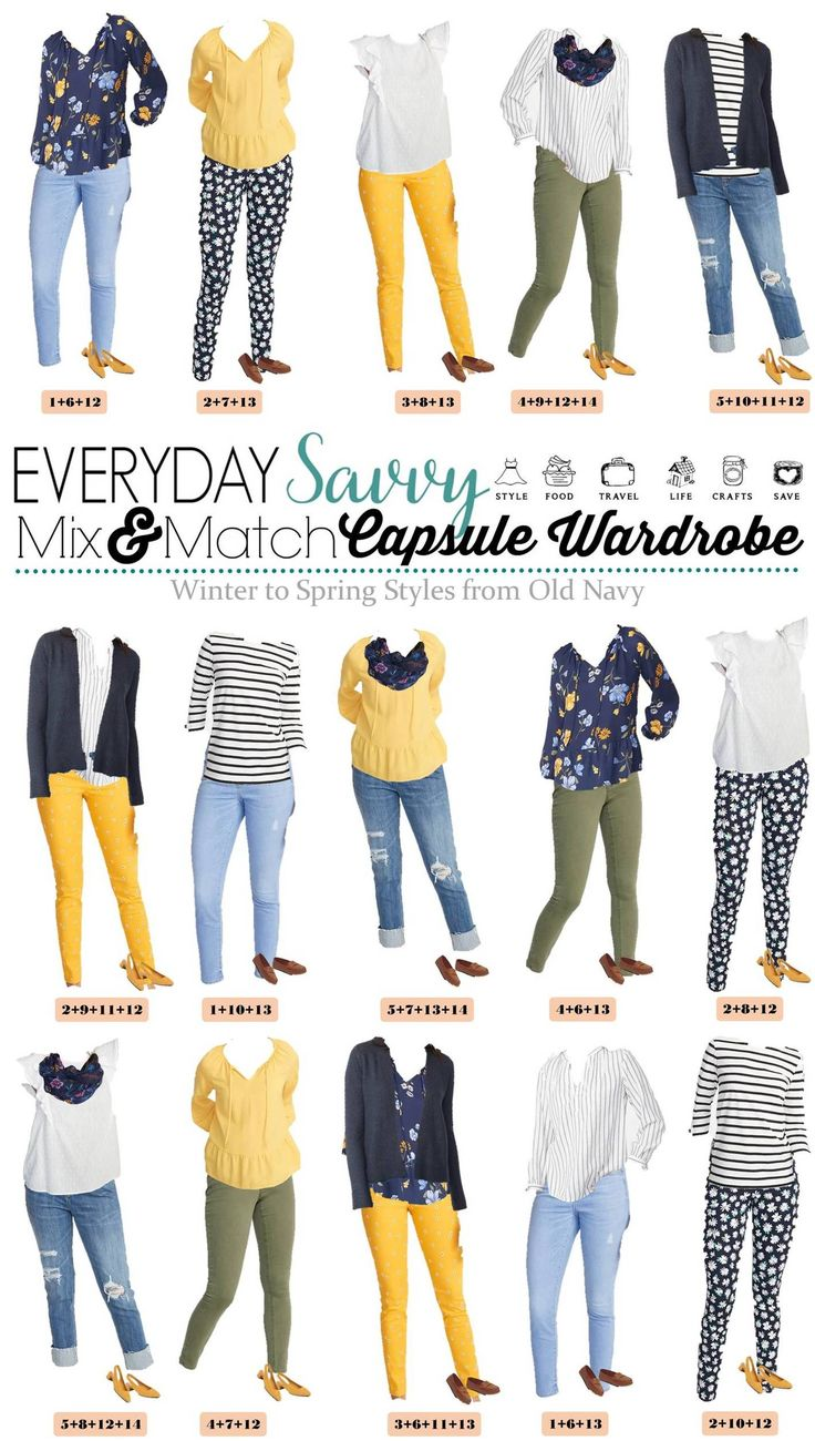 Cute Late Winter and Early Spring Outfits Capsule Wardrobe. Great casual and going out outfits for women. Including floral, yellow, navy & olive green. All from Old Navy. Great for travel, moms and more.