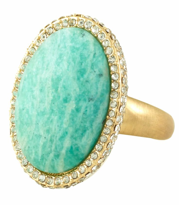 Love this Statement Ring! Aqua Blue and Gold Marina Rhinestone Cocktail Ring #Summer #Fashion #Statement #Accessories #Gift #Ideas