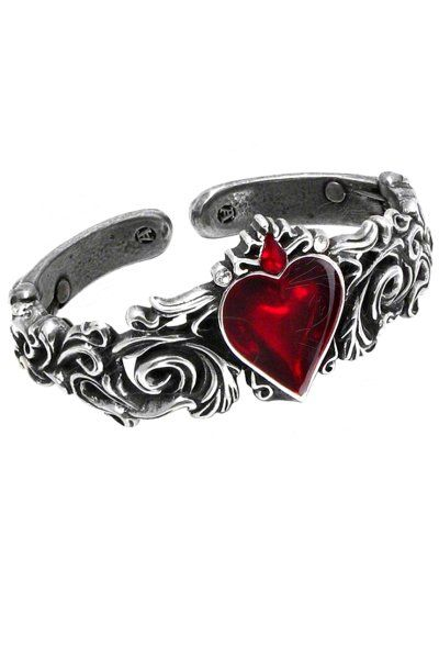 Betrothal Blood Red Heart Bracelet by Alchemy Gothic