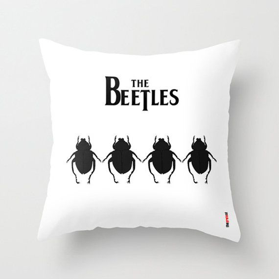 The Beetles Pillow Cover - Music pillow case - The Beatles pillow - Black and white cushion - Modern pillow- Sofa pillow case - Funny pillow