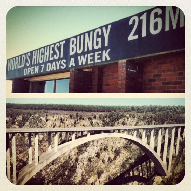 THE WORLD'S HIGHEST BUNGY BRIDGE!! (No i have not Jump)  Bloukrans Bridge Bungy has been operated by Face Adrenalin commercially since 1997 and uses a pendulum bungee system. It is 216m high, from the platform to the river below.It is the highest commercial bridge bungy in the world.