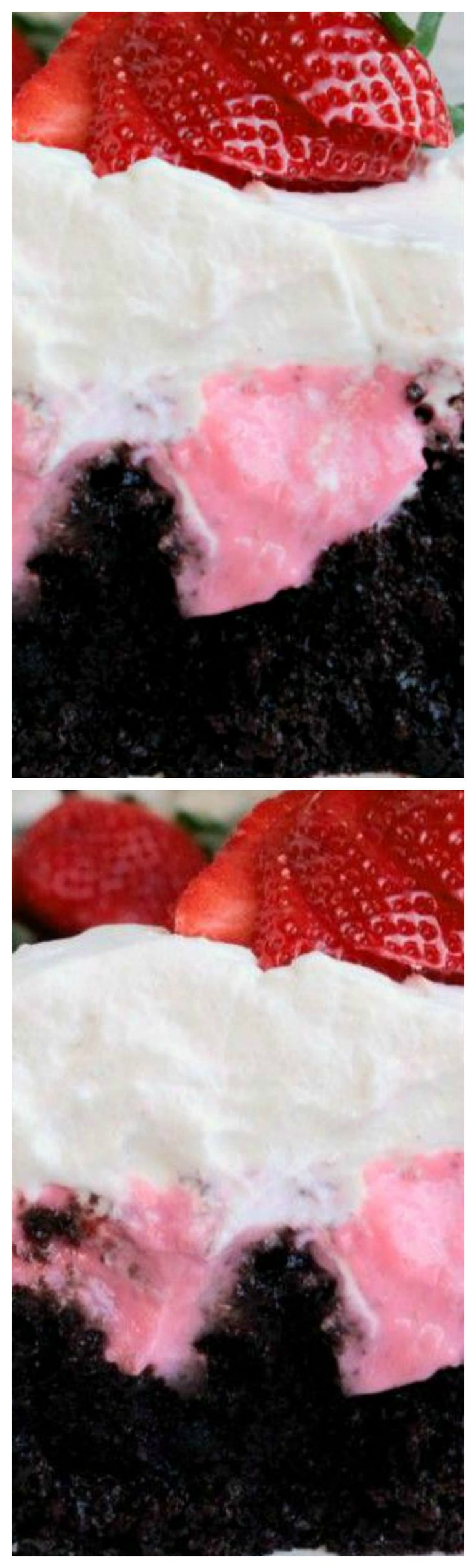 Chocolate Strawberry Poke Cake ~ A rich homemade chocolate cake filled with a homemade strawberry pudding, then topped with sliced strawberries and Creme Chantilly.