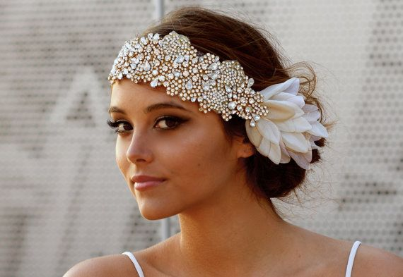 The Original Crystal Bridal Hair Bandeau Carey by DolorisPetunia #Inspiraçao pra cinto bordado