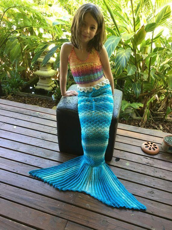 Crochet mermaid tail  Blue Ocean yarn  rainbow child by LaMalaTae Mermaid Tails. Custom crochet rainbow yarn shell halter neck bikini top