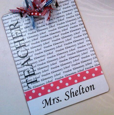 Teacher Clipboard Personalized With School Name and by Slimdigm