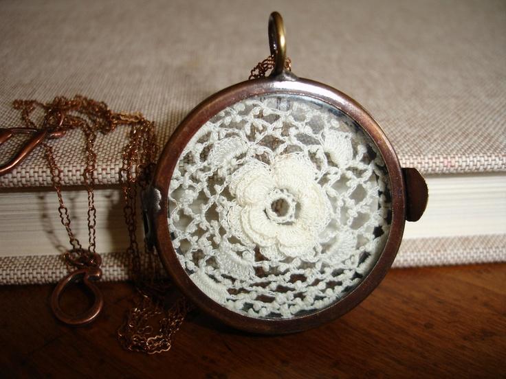 Vintage Irish Crochet Lace Display in a  Brass Shadow Box Hinged Pendant Locket. $39.00, via Etsy.