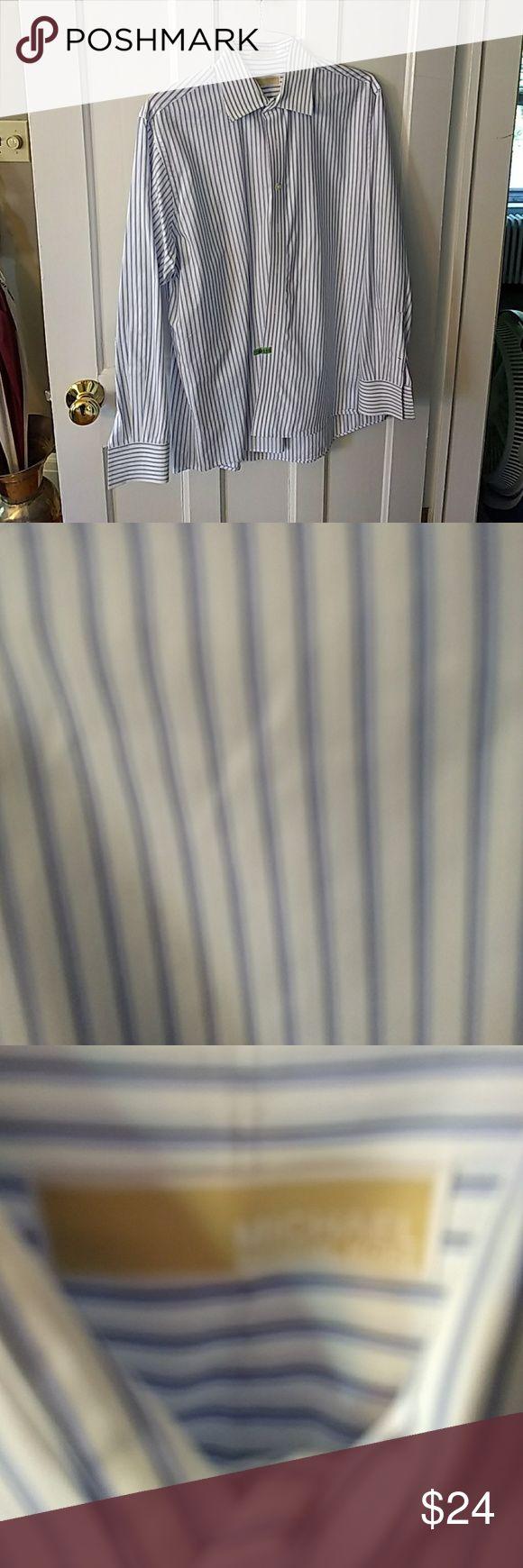 Michael Kors Men's shirt 2 shades of blue stripes makes this Michael Kors shirt amazing, all Cotton, 16 1/2 X 35 or Large MICHAEL Michael Kors Shirts Dress Shirts