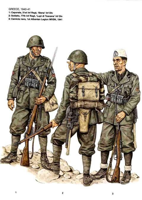 """Regio Esercito e MSVN in Grecia 1940 - 1941 - 1 Caporale, 31° Rgmt , Divisione di Fanteria """"Siena"""" - 2 Soldato, 77° Rgmt, Divisione di Fanteria """"Lupi di Toscana"""" - 3 Camicia Nera, 1a Legione MSVN """"Albania"""", 1941"""