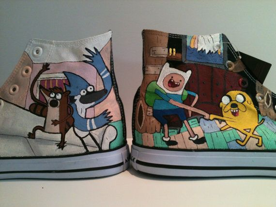 Adventure Time/ Regular Show High Tops by marissascustomkicks, $125.00