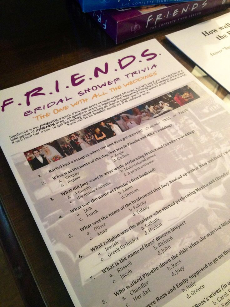 "UNIQUE BRIDAL SHOWERS – A ""FRIENDS"" TV SHOW & CENTRAL PERK THEMEDPARTY"