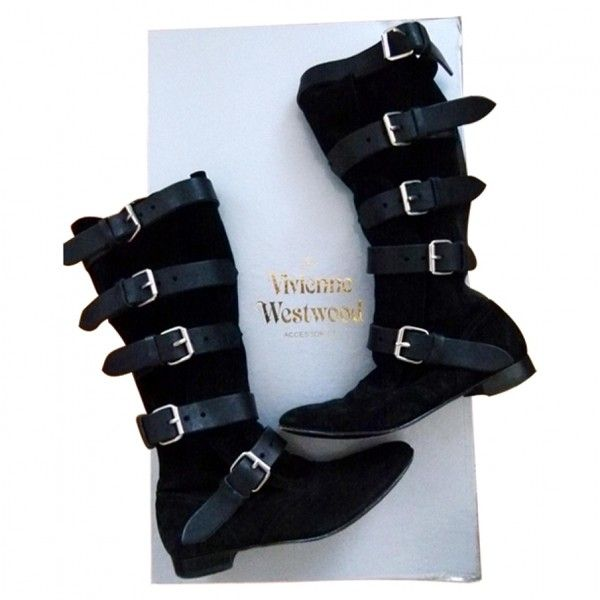 BLACK SUEDE PIRATE BOOTS SIZE 37.5 VIVIENNE WESTWOOD (490 CAD) ❤ liked on Polyvore featuring shoes, boots, black suede shoes, vivienne westwood, suede boots, suede leather boots and vivienne westwood boots