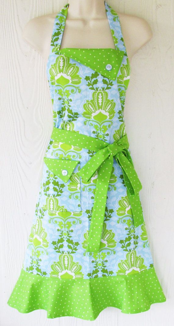 Blue and Green Damask Apron Womens Apron Vintage by KitschNStyle
