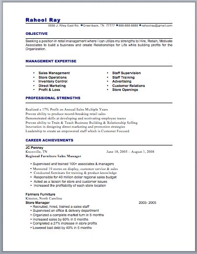 156 best Resume \/ Job images on Pinterest Resume examples, Free - retail manager resume template
