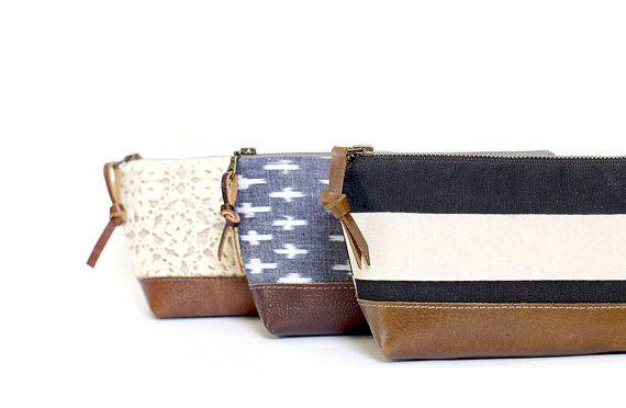 Leather clutch, stripe zippered pouch, nautical clutch bag