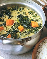 Island Kale and Sweet Potato Soup - You've got 2 items out of the box right here in the soup! It's great as is or with a little bit of curry powder sauteed with your onion, pepper and garlic.