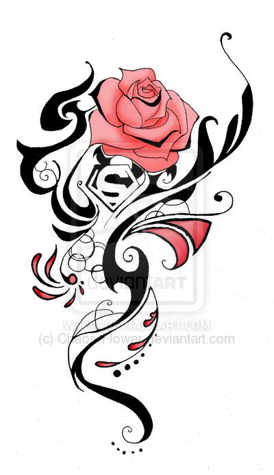 Interesting concept here.. May use this as inspiration. I like the way the tribal pattern blends in with the rose design.