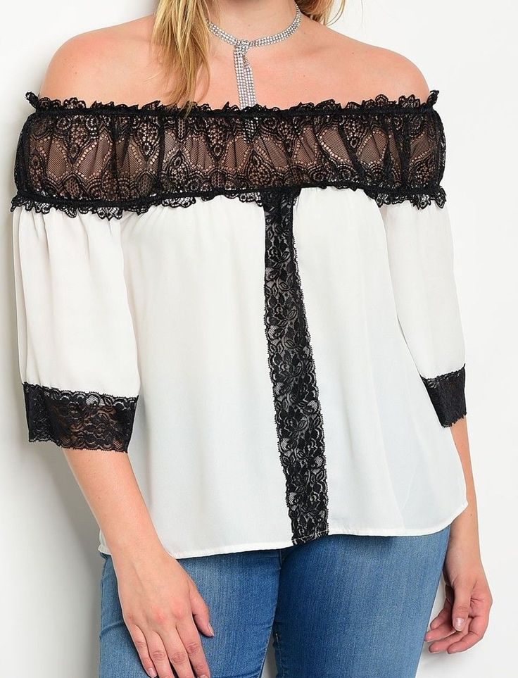 Black/Ivory Chiffon Ruffle Trim Lace Off The Shoulder Top Plus Size | 10 12 14