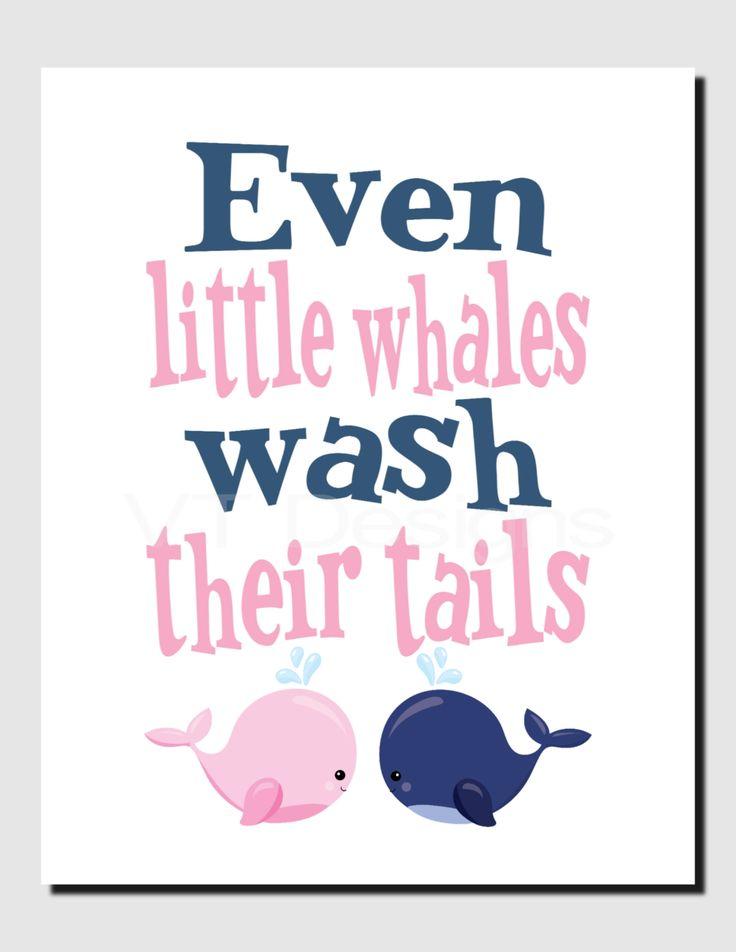 Whale Bathroom Art, Even little whales wash their tails, Brother Sister Bathroom Art, Pink Navy Bathroom, Girl Boy Bathroom, Print or Canvas by vtdesigns on Etsy