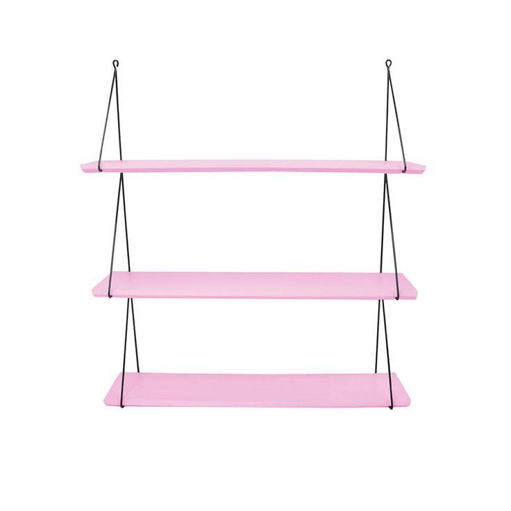 molly meg set of 3 shelves, candy pink