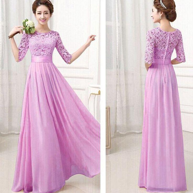 SEBOWEL 2016 Women Elegant Lace Dress Long Maxi Dresses Chiffon Half sleeve Evening Wedding Party Dress