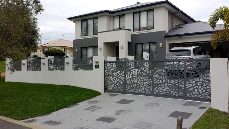 gard modern cu poarta autoportanta vopsita gri antracit