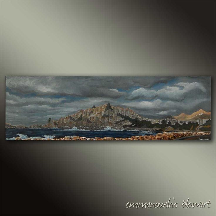 Those late cloudy afternoons-Original art seascape oil painting on canvas by EMMANOUELA-Size:100x30cm (39.4''x11,8'') by Blowart on Etsy