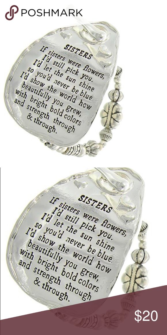"Sister LOVE Bracelet Antique Silver Tone / Silver Ccb(beads) / Metal / Toggle Closure / Sisters Message / Stretch Bracelet •   ChiqStyle No : 000531582 •   SIZE FREE : STRETCH •   TOP FACE : 2 1/2"" X 1 3/4"" Jewelry Bracelets"
