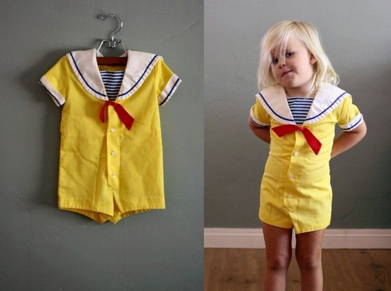 RESERVED  vintage 2/3 Yellow Sailor ROMPER by midstatevintage
