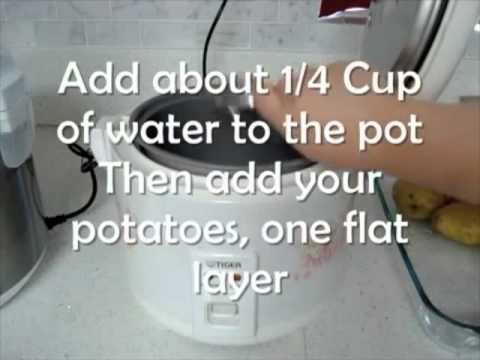 Easiest way to fake bake/steam potatoes.    Add about 1/4 Cup of Water for small potatoes  Or 1/2 Cup for larger potatoes    I had to run the white rice setting twice on the Wolfgang Puck Multi-Cooker and on the Tiger Rice Cooker. Since my potatoes were fairly large in size it took a while longer to cook all the way through. If your potatoes are...