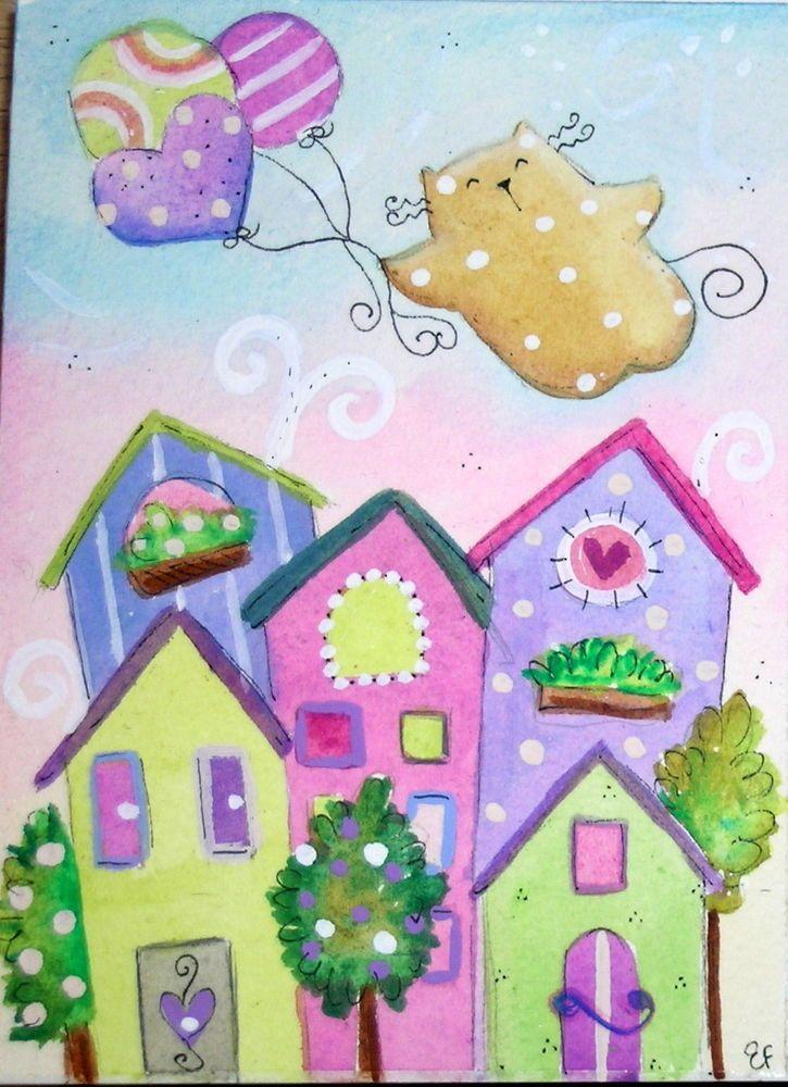 original watercolor 3.5x5- happy cat balloons landscape city- acquarello gatto