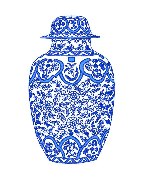 Blue and White Chinoiserie Ginger Jar from The Pink Pagoda