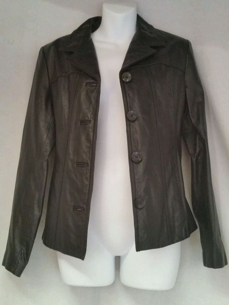 Wilsons Womens Leather Coat Jacket Black Sport Maxima Blazer Medium M #Wilsons #Blazer