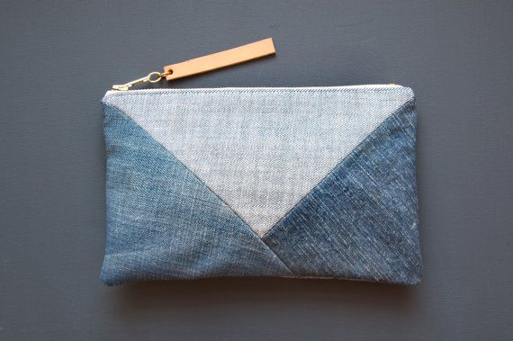 DENIM Patchwork Clutch Repurposed Denim Clutch by GiftShopBrooklyn, $52.00