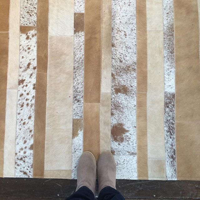 Our newest addition:  hide rugs in geometric patterns. #fromwhereistand #neutralinterior #hidelove #cowhiderug