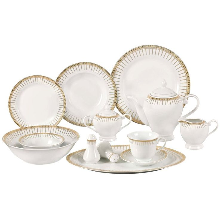 Deakin Porcelain 57 Piece Dinnerware Set, Service for 8