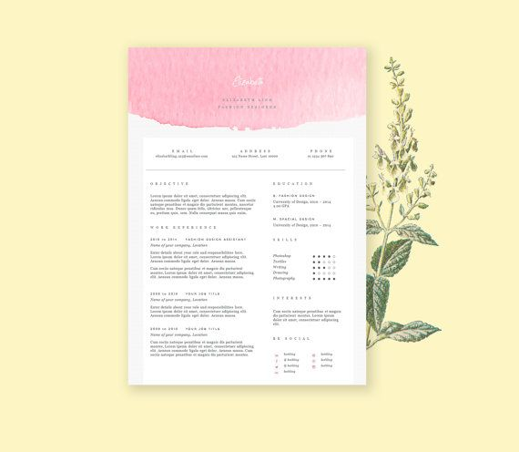 Pink resume template with cover letter CV template in by landedCo, $12.00
