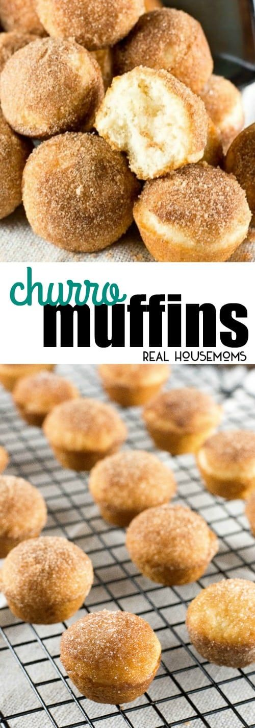 Churro Muffins transform a sweet cinnamon Mexican dessert into bite-sized mini muffins that are baked instead of fried! via @realhousemoms