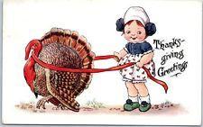 день благодарения поздравительная открытка девочка ловить Турция w / лента 1913 гашение