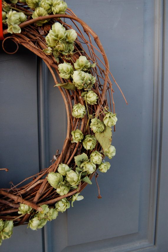 12 Inch Dried Hops Wreath Get Green Ribbon by MarieStephensDesign, $24.95