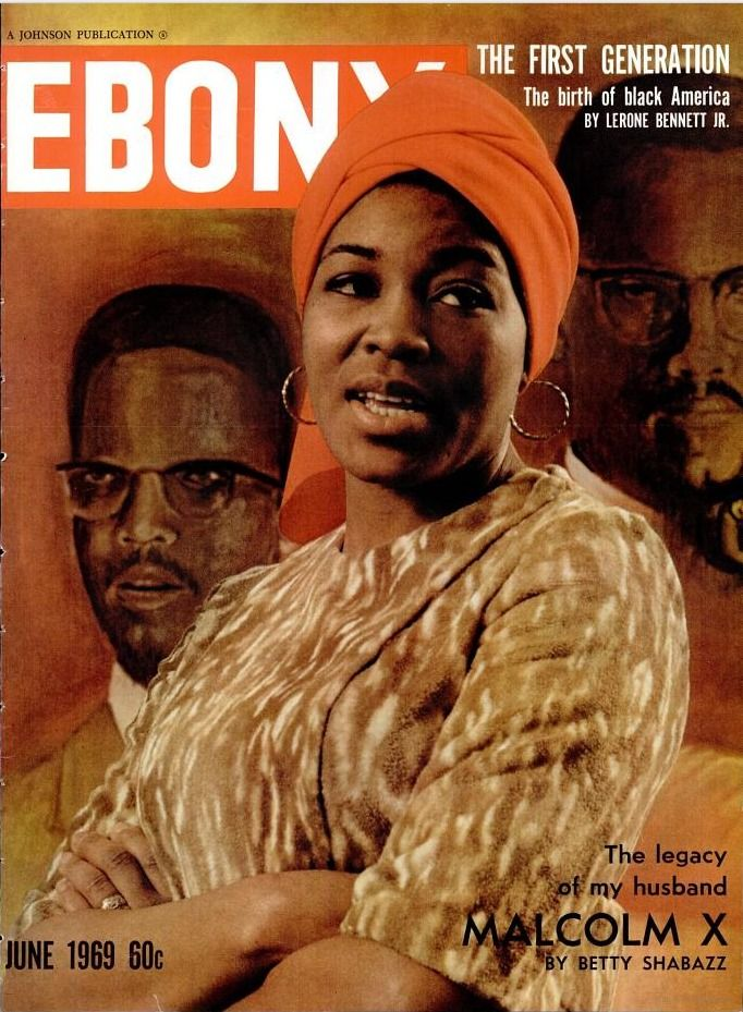 Dr Betty Shabazz, widow of Malcolm X, on the cover of Ebony, June 1969.