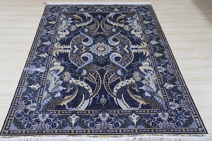 No.2369789 230 lines hand knotted silk carpet,  Kpsi 367. Size 6x9 foot. (183cmx274cm) By Yile Silk Carpet Company www.ylrug.com, info@ylrug.com WhatsApp & Viber: +86-13849180658