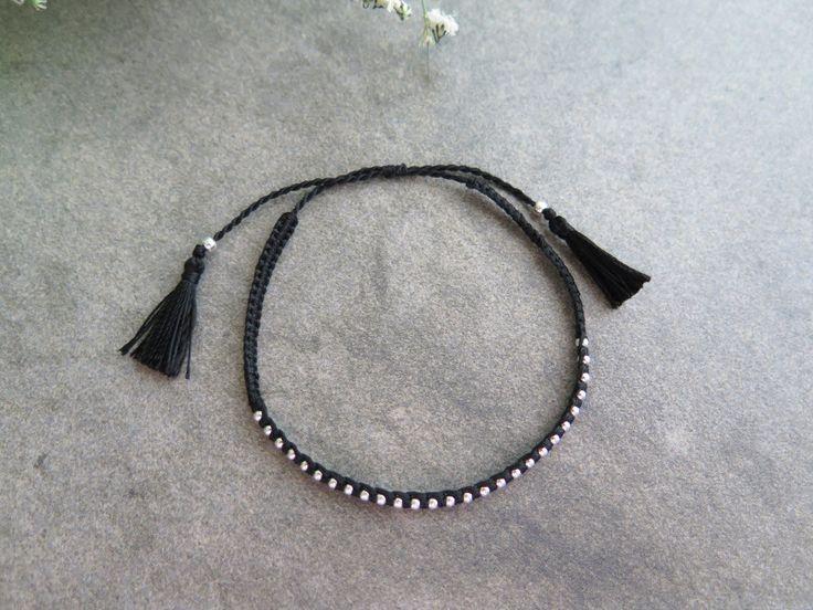 Handmade Balck Tassel bracelet / Cord bracelet / 925 silver bead bracelet / Tassel Bracelet / silver bead bracelet by thinlight on Etsy
