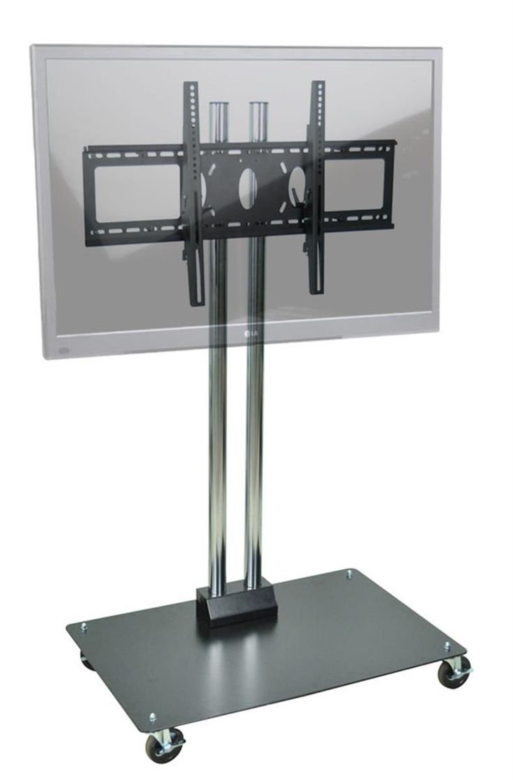 """TV Stand with Wheels Fits Monitors 37"""" to 70"""", Heavy-duty Base - Black"""